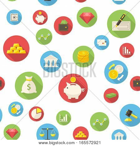 Seamless pattern with finance icons vector illustration