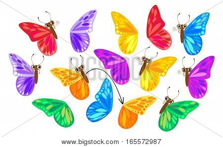 Find a second wing for a butterfly. Children puzzle game. Funny cartoon character. Vector illustration. Isolated on white background