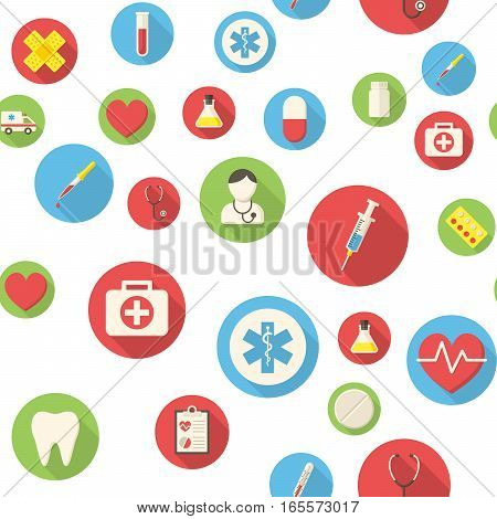 Seamless pattern with medical icons vector illustration