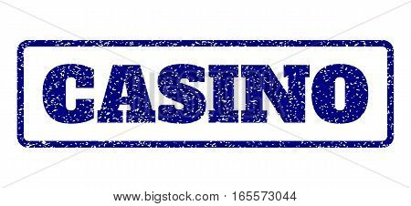 Navy Blue rubber seal stamp with Casino text. Vector caption inside rounded rectangular banner. Grunge design and unclean texture for watermark labels. Horisontal sticker on a white background.