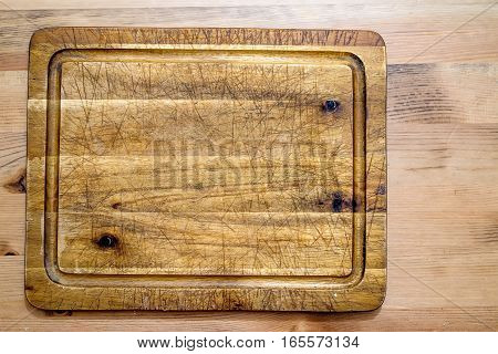 Old grunge wooden cutting kitchen desk board
