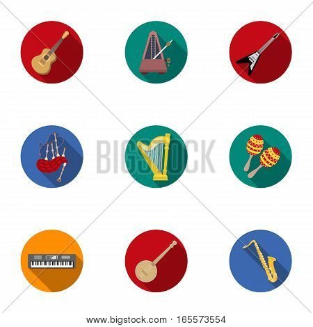 Musical instruments set icons in flat style. Big collection of musical instruments vector symbol stock