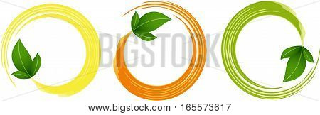 Scalable vectorial image representing a circle frames with green leaves, isolated on white.
