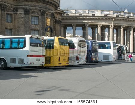 Saint Petersburg Russia September 02 2016: Tour buses near the Kazan Cathedral in Saint-Petersburg Russia