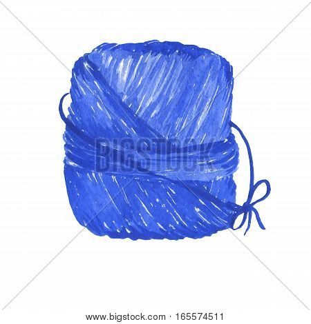 Ball of blue thread. Hand drawn watercolor painting on white background