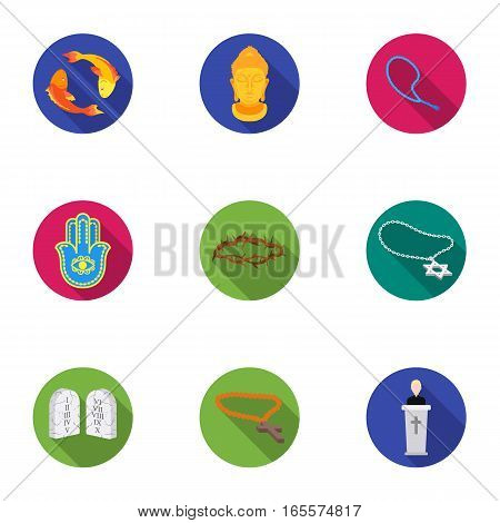 Religion set icons in flat style. Big collection of religion vector symbol stock