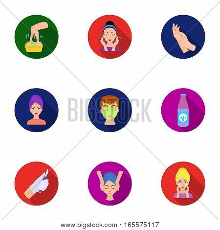Skin care set icons in flat style. Big collection of skin care vector symbol stock