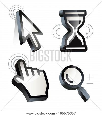 Cursor. Hand, arrow, hourglass, magnifying. Black and white vector illustration. Conceptual illustration. Isolated on white background