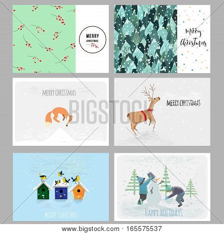 Set of Christmas cards. Contains hand drawn elements, patterns and cute characters. Vector illustration