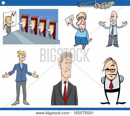 Cartoon Illustration Set of Businessman Characters and Business Concepts