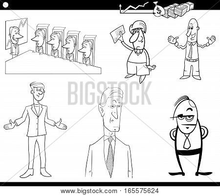 Black and White Cartoon Illustration Set of Businessman Characters and Business Concepts