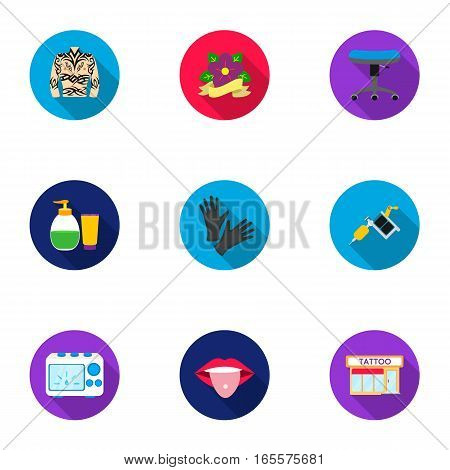 Tattoo studio set icons in flat style. Big collection of tattoo studio vector symbol stock