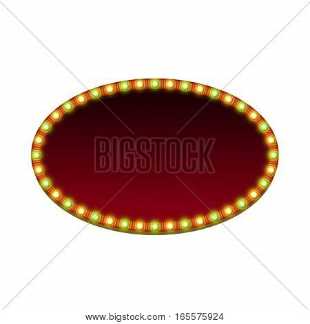 Blank 3d retro light banner with shining lights. Red sign with green and yellow bulbs and dark blank space. Vintage oval street signboard. Advertising elliptical frame. Colorful vector illustration.