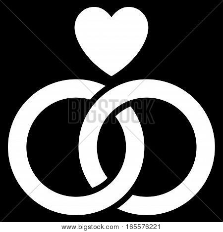 Wedding Rings With Heart vector icon. Flat white symbol. Pictogram is isolated on a black background. Designed for web and software interfaces.