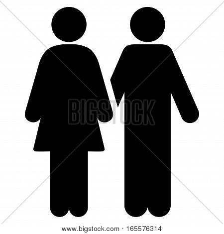 Adult Pair vector icon. Flat black symbol. Pictogram is isolated on a white background. Designed for web and software interfaces.