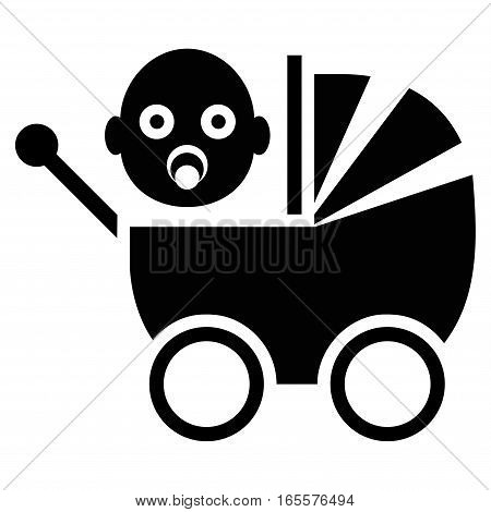 Baby Carriage vector icon. Flat black symbol. Pictogram is isolated on a white background. Designed for web and software interfaces.
