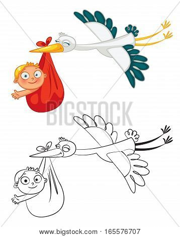 Stork carrying a cute baby. Funny cartoon character. Coloring book. Vector illustration. Isolated on white background. Set