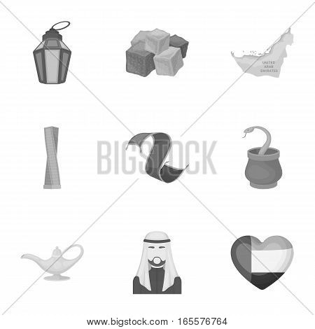 Arab Emirates set icons in monochrome style. Big collection of Arab Emirates vector symbol stock