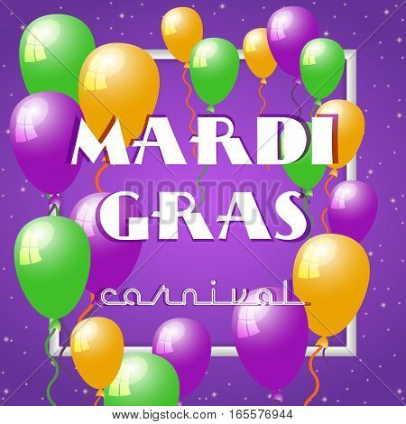 Festive card with air balloons for Mardi Gras spring carnival on dark violet background with sparkles. Fat Tuesday holiday banner. Vector illustration