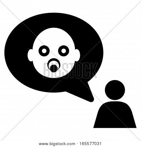 Baby Thinking Person vector icon. Flat black symbol. Pictogram is isolated on a white background. Designed for web and software interfaces.