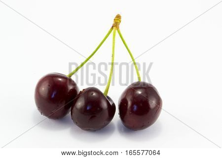 tasty and juicy cherries isolated on a white background