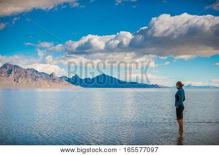 Bonneville Salt Flats Utah Girl Walking In Shallow Water