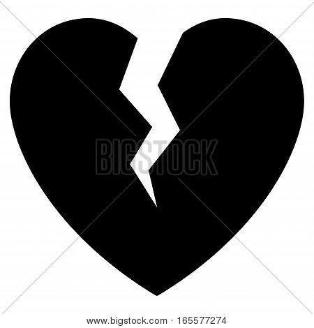 Broken Heart vector icon. Flat black symbol. Pictogram is isolated on a white background. Designed for web and software interfaces.