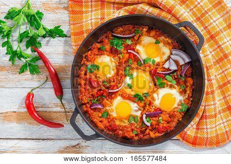 Healthy Breakfast Shakshuka - Fried Eggs, Tomato, Pepper And Spices