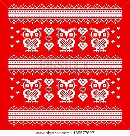 Ornament red owl and heart. wise owls in love. pixel art template. Cross stitch. Scheme of knitting and embroidery.