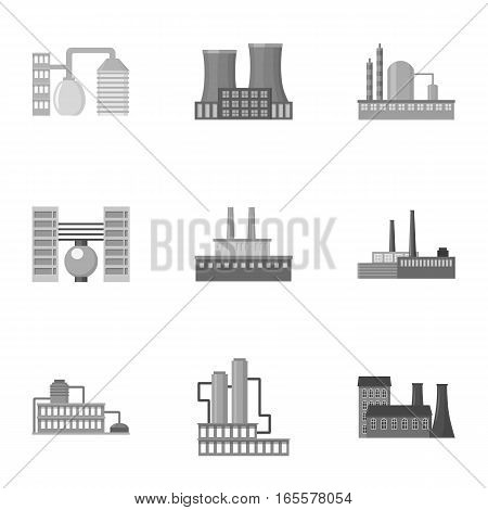 Factory set icons in monochrome style. Big collection of factory vector symbol stock
