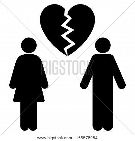 Family Divorce vector icon. Flat black symbol. Pictogram is isolated on a white background. Designed for web and software interfaces.