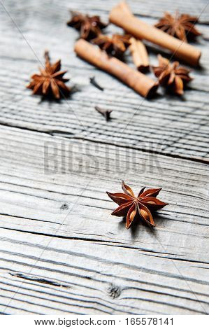 Various Seasonings For Cooking, Anise, Cardamom, Cloves, Cinnamon
