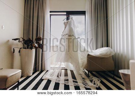 fancy wedding dress. Bridal morning in hotel