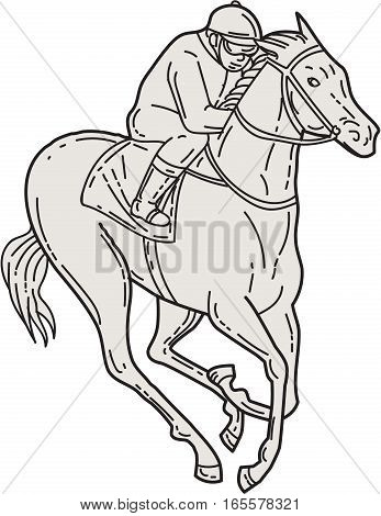 Mono line style illustration of a jockey riding a thoroughbred horse racing set on isolated white background.
