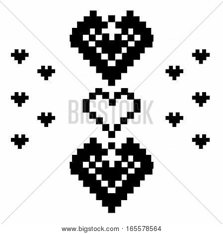 Pixel Heart Vector cross stitch. Valentine s Day embroidery.