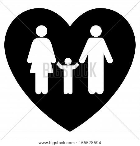 Family Love Heart vector icon. Flat black symbol. Pictogram is isolated on a white background. Designed for web and software interfaces.