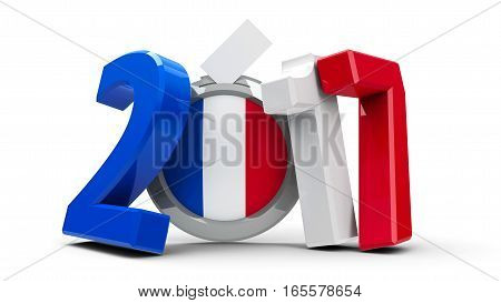 Figures 2017 in the colors of french flag with badge isolated on white background represents Presidential Election 2017 in France three-dimensional rendering 3D illustration