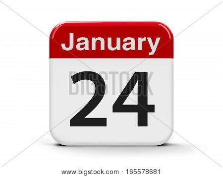 Calendar web button - The Twenty Fourth of January three-dimensional rendering 3D illustration