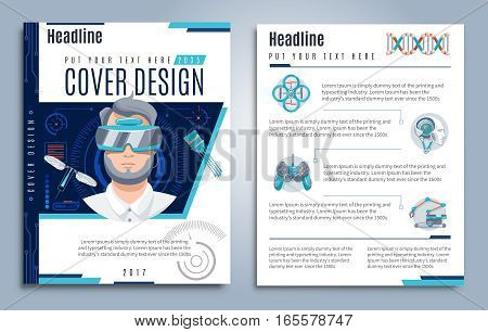 Hi-tech presentation cover design with text virtual user interface and futuristic robotic objects vector illustration
