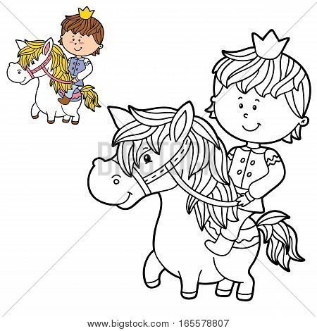 Vector illustration coloring page of happy cartoon boy for children, coloring and scrap book