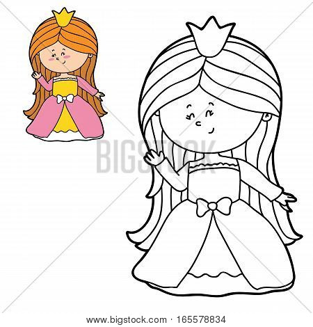 Vector illustration coloring page of happy cartoon girl for children, coloring and scrap book