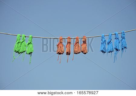 Chinese traditional decorative knots hanging from a line