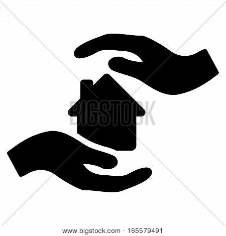 House Care Hands vector icon. Flat black symbol. Pictogram is isolated on a white background. Designed for web and software interfaces.