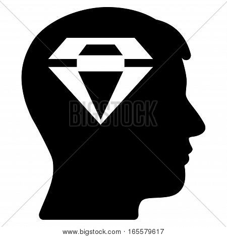 Human Head With Diamond vector icon. Flat black symbol. Pictogram is isolated on a white background. Designed for web and software interfaces.