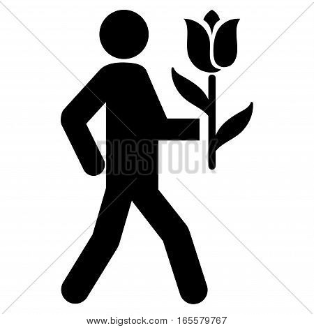 Lover With Flower vector icon. Flat black symbol. Pictogram is isolated on a white background. Designed for web and software interfaces.
