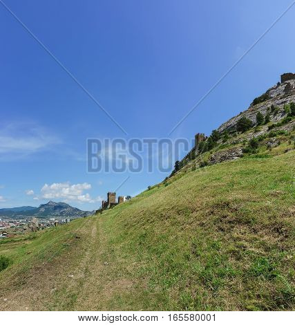Trail along the fortress wall to the consular castle of the Genoese fortress. Sudak Crimea Russia