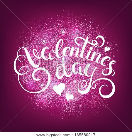 Happy valentines day handwritten text on glitter splash. Calligraphy for greeting card. Vector illustration.