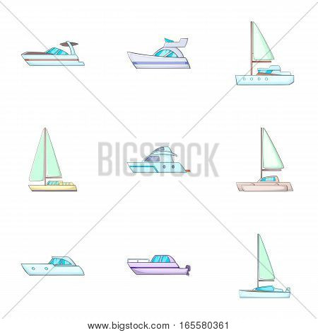Water transport icons set. Cartoon illustration of 9 water transport vector icons for web