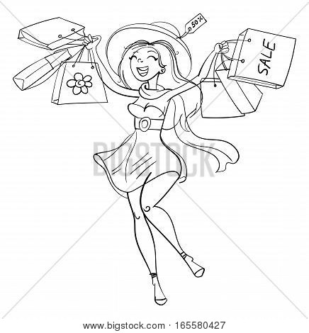 Happy girl with shopping bags in shop. Shopper. Sales. Funny cartoon character. Vector illustration. Coloring book. Black and white