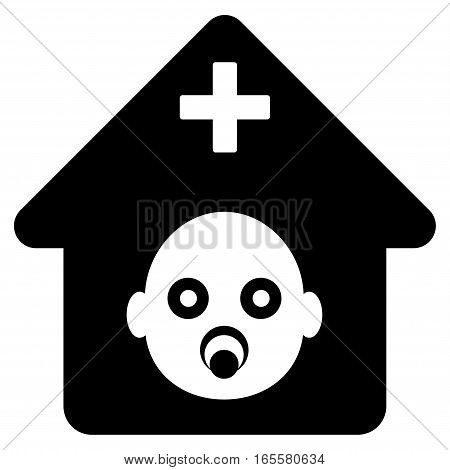 Prenatal Hospital vector icon. Flat black symbol. Pictogram is isolated on a white background. Designed for web and software interfaces.